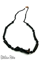 Black and Dark Brown Lucite Twig Necklace, Boho Magical Quirky Vintage - $17.00