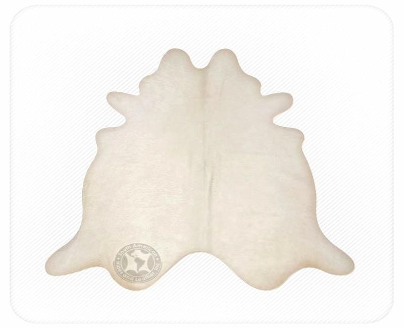 All Off White Brazilian Cowhide Rug Medium 32 to 36 s.f.
