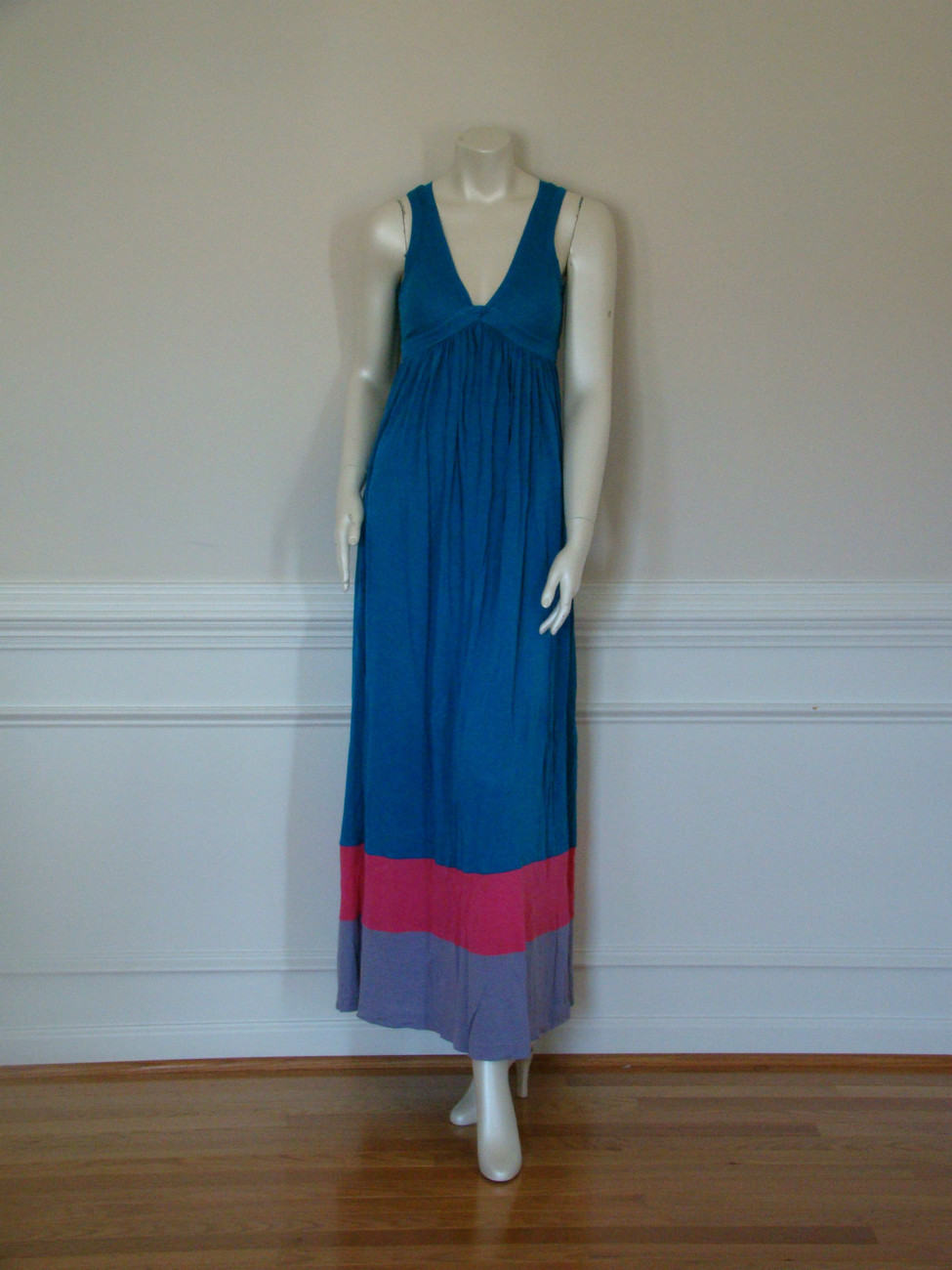 DIANE von FURSTENBERG KIWANA TEAL/HOT PINK/LILAC LONG GOWN - US SMALL