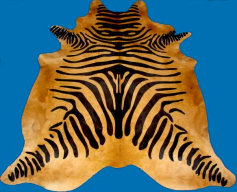 Zebra Print Cowhide Standard Black on Caramel