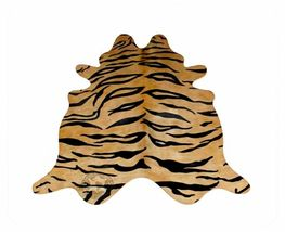 Tiger Bengal Print  Cowhide Black on Caramel - $299.00