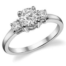 2.00CT Forever One Moissanite 4 Prong 3-Stone Ring 18K White Gold  - $1,125.78