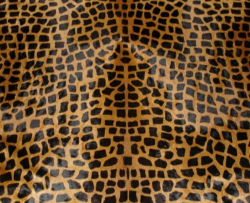 Giraffe Cowhide Medium Print Dark Brown on Caramel