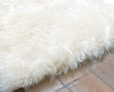 Faux Polar Bear Rug Ivory Medium