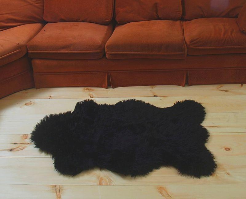 Faux Black  Bear Rug Large