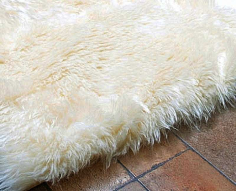 Faux Fur Area Rug Ivory Small