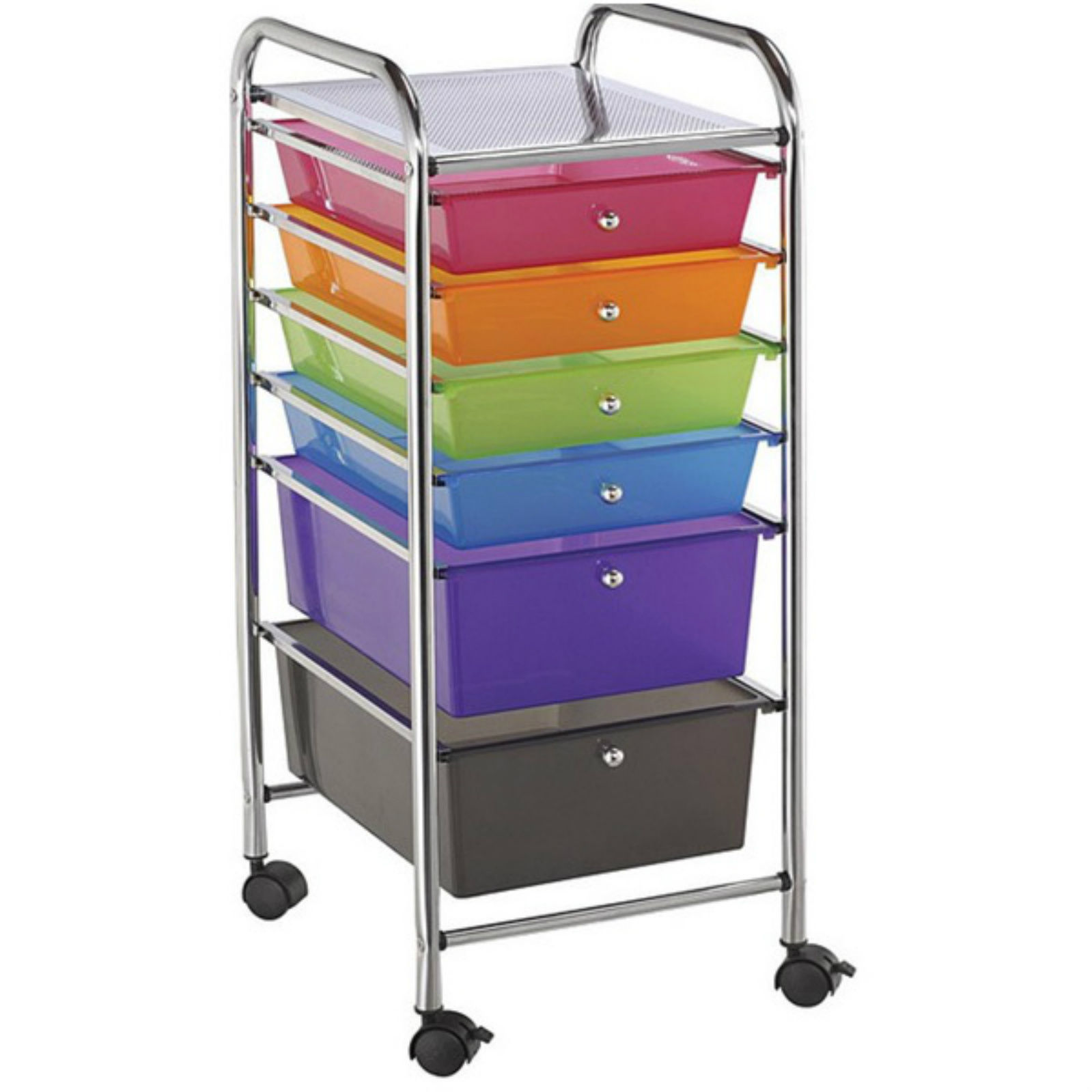 6 drawer organizer rolling storage cart supplies office school plastic cabinet scrapbook hobby. Black Bedroom Furniture Sets. Home Design Ideas