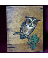 Vinage Marilu Artist 1960s Decoupage Owl Art Tree Rustic Cabin Wood 9x7 - $25.95