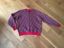 Lands End Womens 100% Cashmere Ugly Christmas Red Black Christmas Sweate... - $65.43