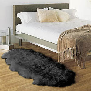 Double  Bowron Sheepskin Pelt Rug Black