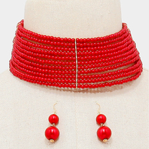 Red Pearl Beads Choker Necklace And Earrings - $35.00