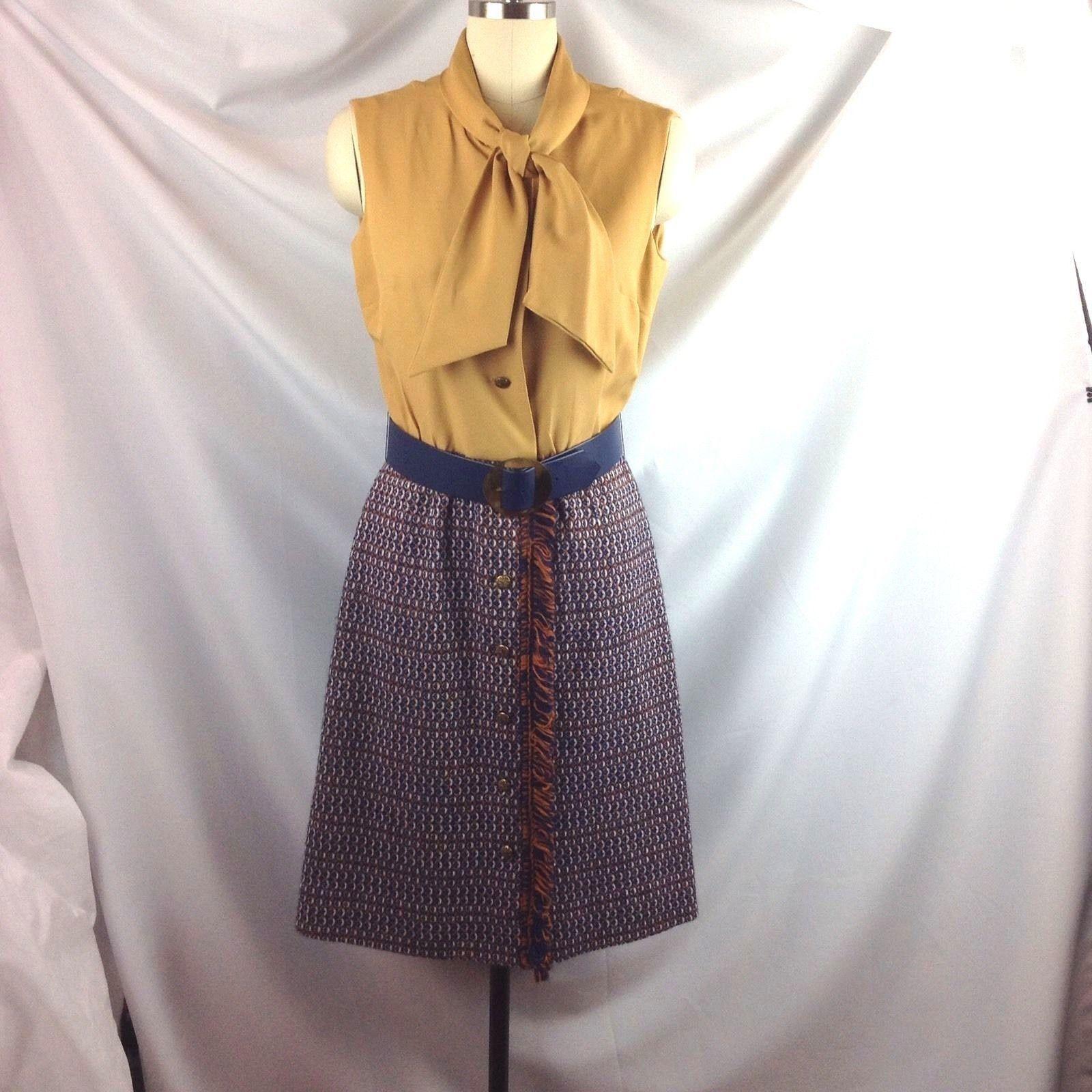 Vtg Fringe Trim Coordinates Dress Outfit Jacket Suit Pussy Bow Navy Gold Orange