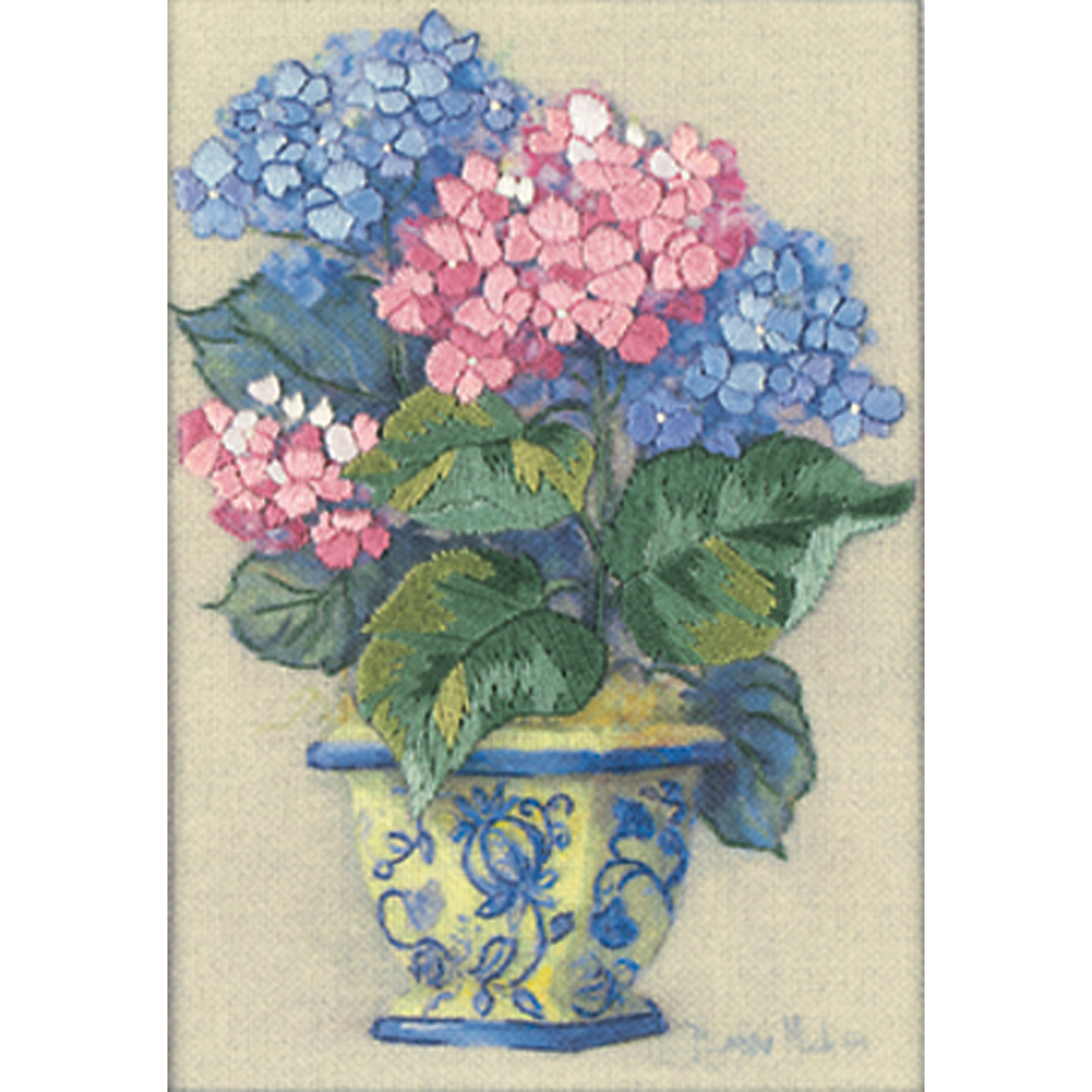 "Primary image for Dimensions/Jiffy Mini Crewel Kit 5""X7""-Colorful Hydrangeas-Stitched In Thread"