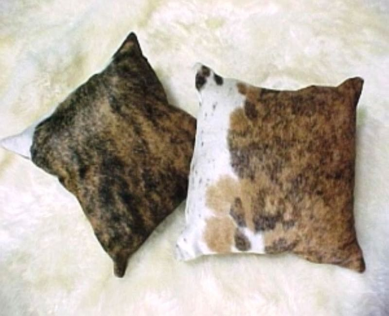 Dark Brindle and White Cowhide Pillow 15 X 15 inches