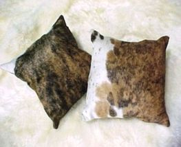 Dark Brindle and White Cowhide Pillow 15 X 15 inches - $79.00