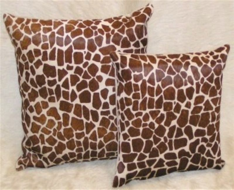 Giraffe Medium  Print Cowhide Pillow Chestnut on Beige