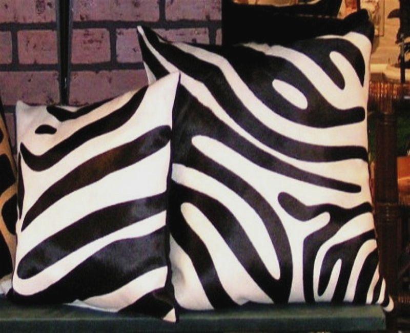 Zebra print b w cowhide pillows2 2  35450
