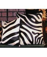 Zebra  Print Cowhide Pillow Black and White - $99.00