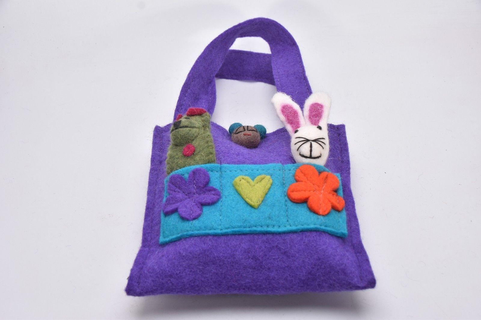 Purse hand Carry Bag Handmade With popet multi color Flower Felt bag purse Nepal