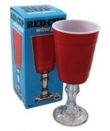 Red Solo Cup Wine Glass Redneck Party W/ Stem H... - $10.89