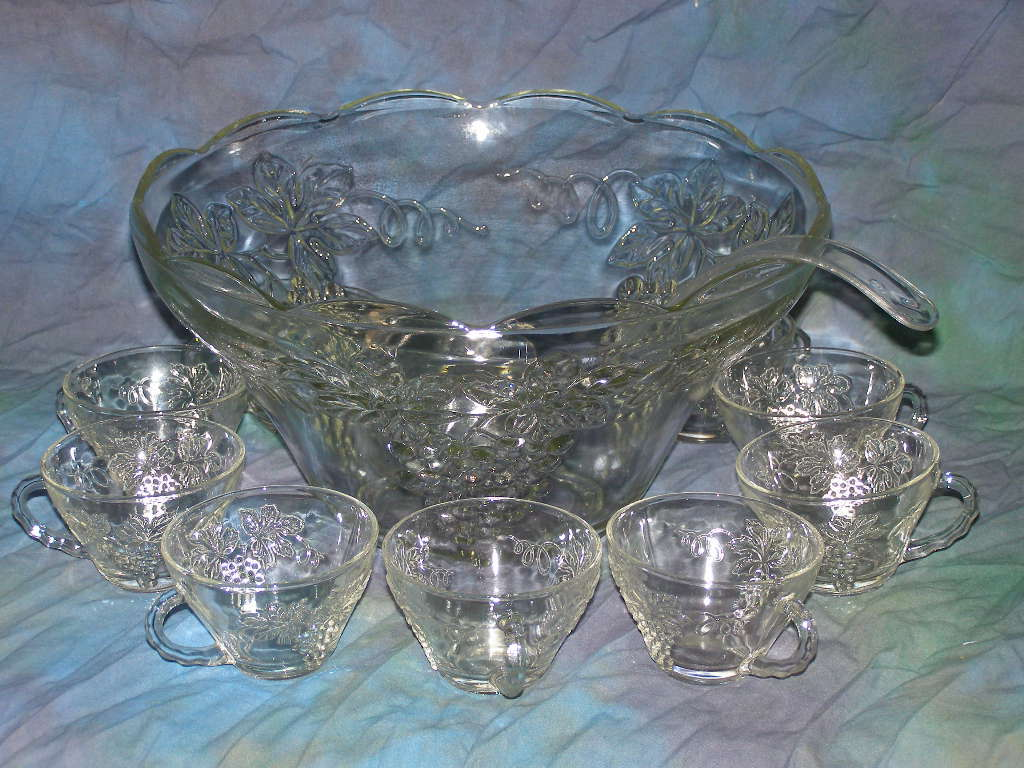 PUNCH BOWL WITH 12 CUPS & LADLE - CLEAR GLASS - GRAPE HARVEST MOTIF - (SKU#1817)