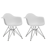 EZmod Furniture Mid-Century Eiffel Chrome Arm Chairs Set of 2 (Free Ship... - $138.55