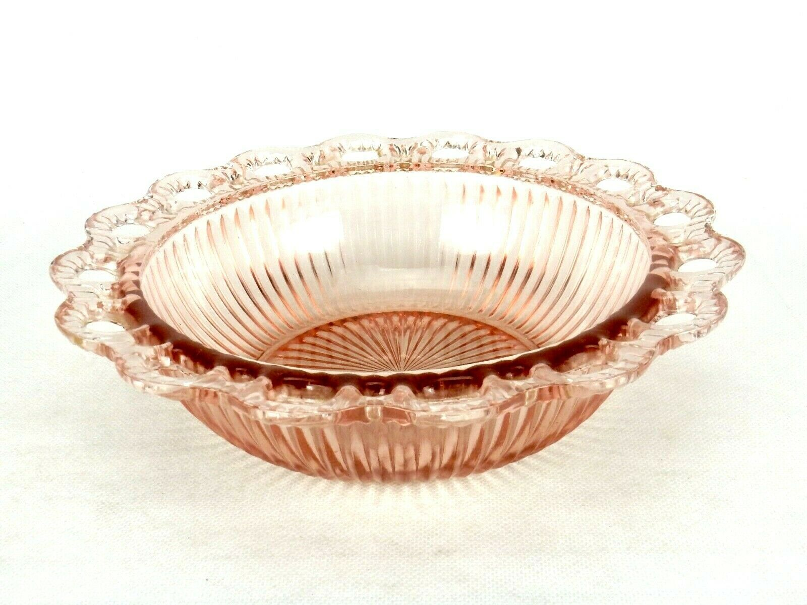 Anchor Hocking Open Lace Ribbed Pink Depression Glass Bowl, Old Colony Pattern - $29.35