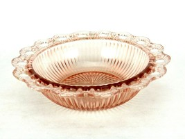 Anchor Hocking Open Lace Ribbed Pink Depression Glass Bowl, Old Colony P... - $29.35