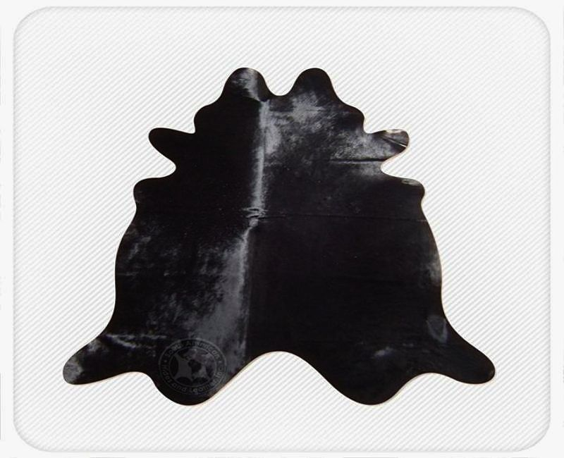 Solid Dyed Black Natural Brazilian Cowhide Rug