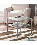 Glass Cocktail Table Square Metal Two Tier Modern Coffee Top End Living ... - $130.85