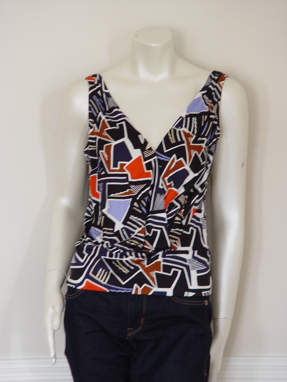 DIANE von FURSTENBERG  VAIL SMALL ABSTRACTED BOAT TOP BLOUSE - US 6 - UK 10