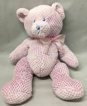 Girls Baby Ganz Teddy Bear Plush PINK check Sewn Eyes BG1106 Lovey - $9.85