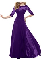 Fanmu Mother's Lace Half Sleeve Mother Of Bride Dress Prom Gowns Purple US 20... - $109.99