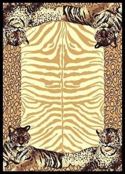 Tiger Skin Border Area Rug 5ft. x 8ft.