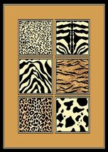 African Animal Mixed Skins Border Area Rug 8ft. x 11ft. - $99.00