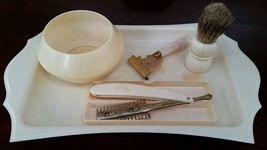 Vintage celluloid and plastic shaving set - $30.00
