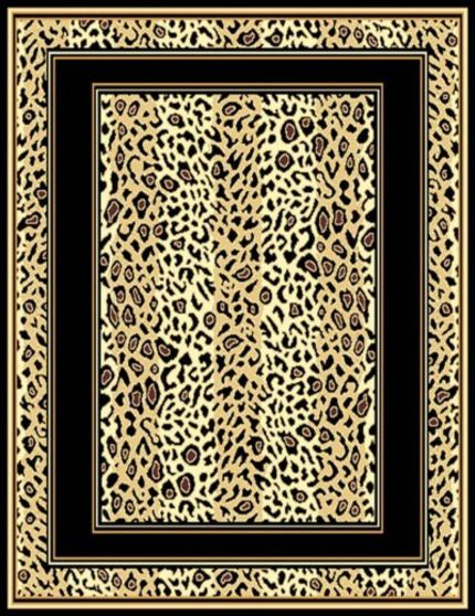 Leopard Skin Double Border Area Rug 4ft. x 6ft.