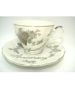 Vintage Norcrest Fine China C-665 25th Anniversary Teacup and Saucer Sil... - $12.19