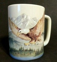 "Otigiri Mug Japan Bald Eagle Mug Cup Mountain Scene 4"" Tall - $12.85"