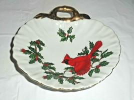 Lefton China Red Cardinal Christmas Candy Nut Dish Bird Holly Gold Trim ... - $12.19
