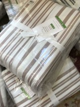 Pottery Barn Antique Style Striped Duvet Cover Taupe King 2 King Sham Fa... - $199.00