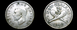 1940 New Zealand 3 Pence World Silver Coin - $6.99