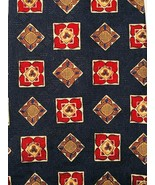 Chaps Ralph Lauren Blue with Squares Diamonds Silk Tie USA - $9.89
