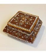 Gold Sparkle Trinket Jewelry Box Holder Clear Rhinestone Inlay Square Resin - $30.00