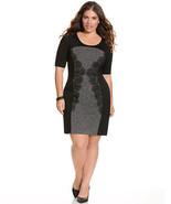 LANE BRYANT Plus Size 24 LACE PANEL SHEATH DRESS Black Gray Textured - $29.67