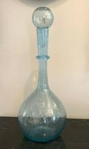 """La Verrerie De Biot Impressive French Handblown Aqua Decanter 17 3/4"""" High - $147.51"""
