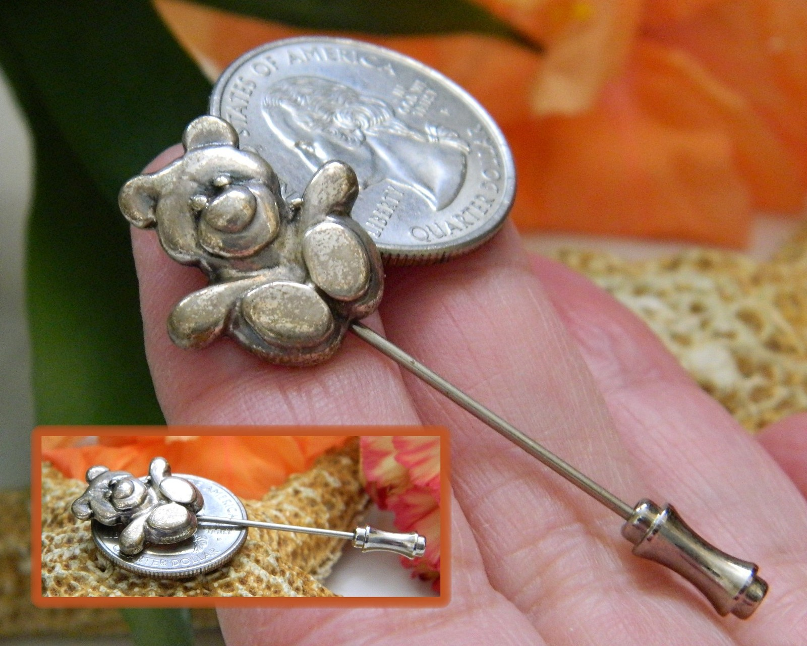 Vintage Teddy Bear Lapel Stick Pin Stickpin Sterling Silver Figural