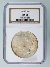 1924-S $1 Silver Peace Dollar Graded by NGC as MS-62! Gorgeous Peace Dol... - $341.54