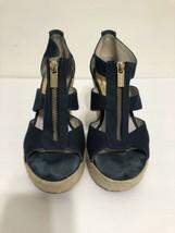 Michael Kors Berkley Wedge Navy Blue Canvas Espadrille Platform Sandal Size 7 M - $26.37