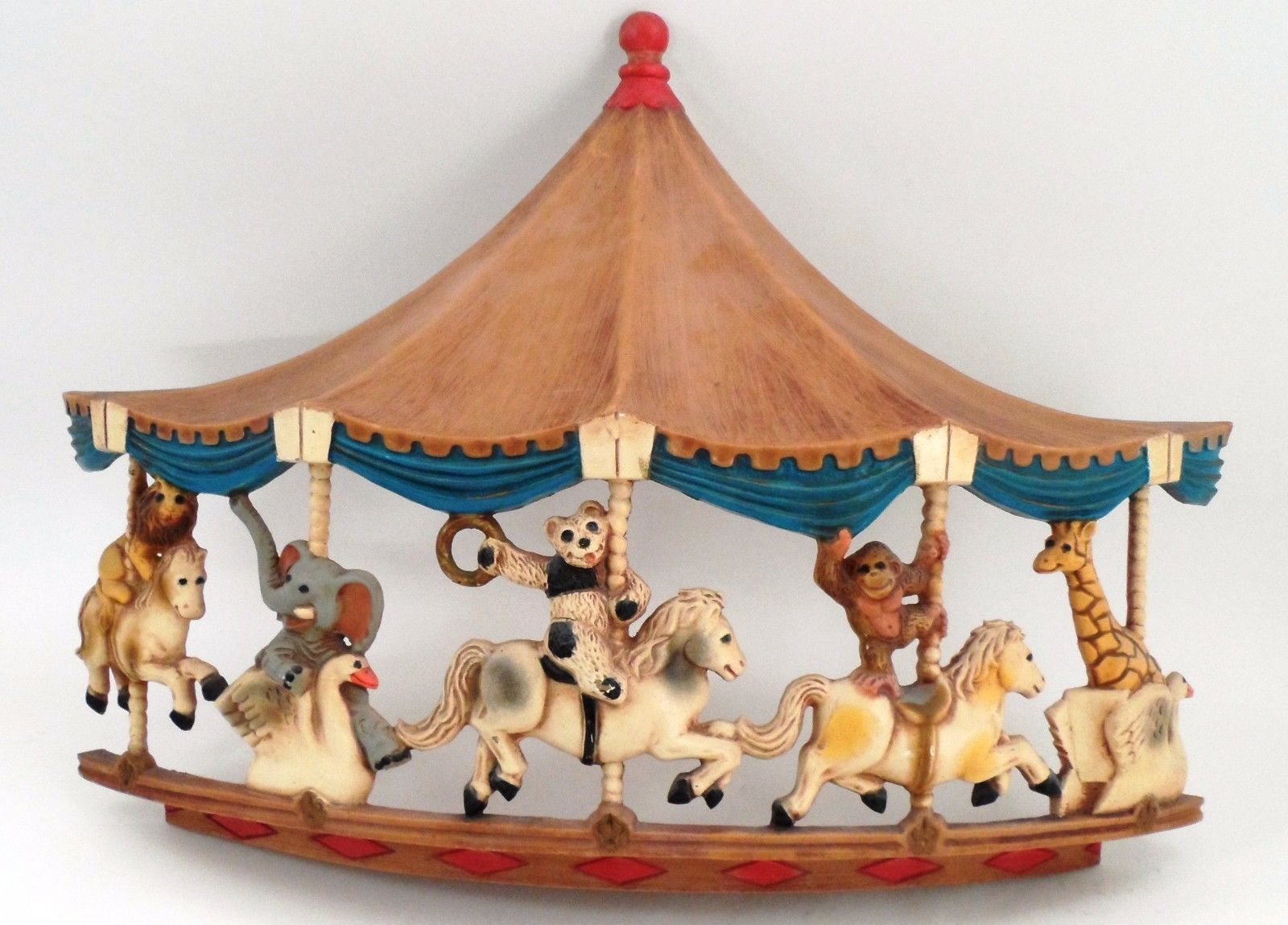 1979 Homco Universal Statuary Circus Animals Carousel Wall Hanging Brass Ring